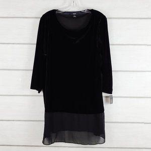 Alfani Women's Velvet Black Tunic Scoop Neck 2X